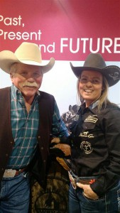 Michelle McLeod, NFR Thursday night winner, speaking with Scott Fogg